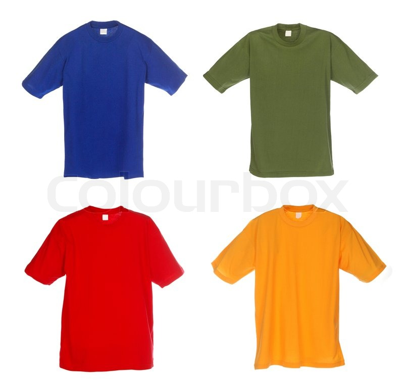 Photograph of four blank t-shirts, blue, green, red and ...
