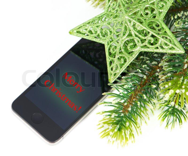 Handy Mit Weihnachtsdekoration Und Grüße Nachricht Grünen Stern Und