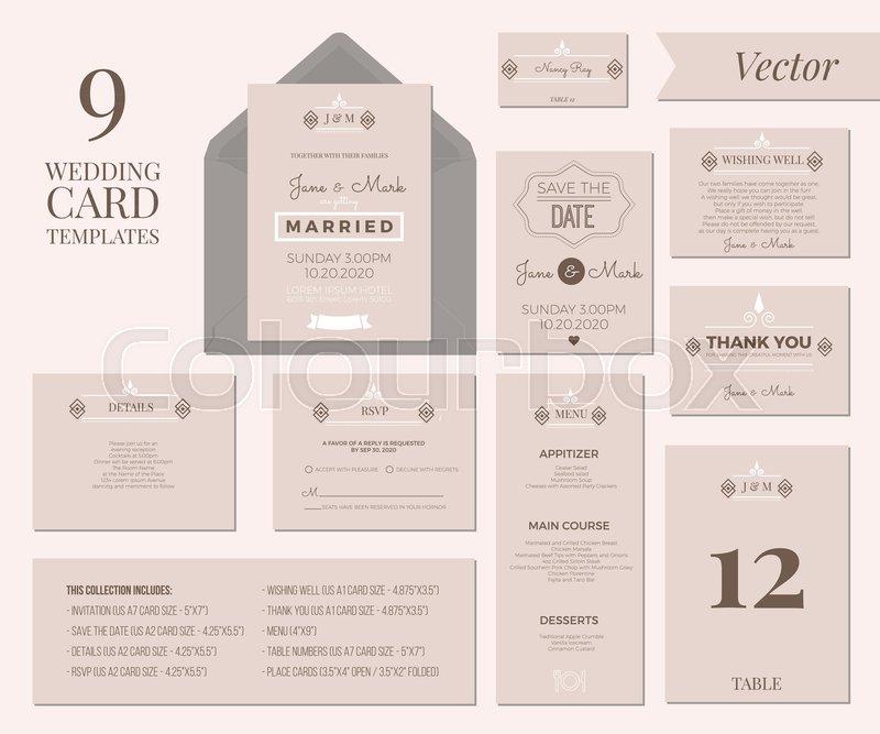 Vintage Minimal Wedding Invitation Stock Vector