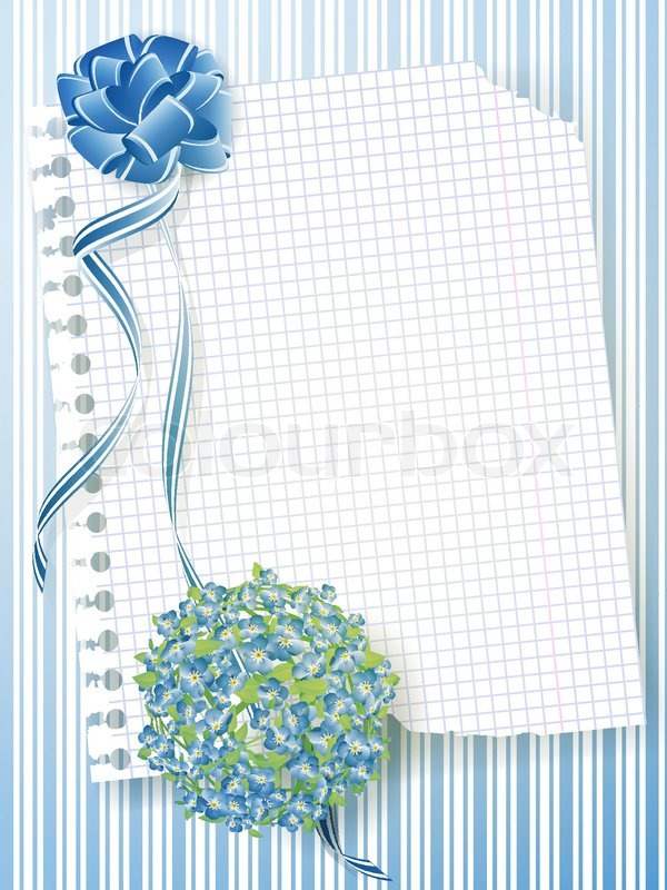 Illustration of notebook sheet with forget me not bouquet and illustration of notebook sheet with forget me not bouquet and ribbon bow stock vector colourbox ccuart Image collections
