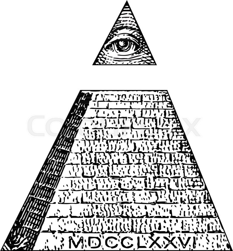 Illuminati Symbols Bill Masonic Sign All Seeing Eye Vector One