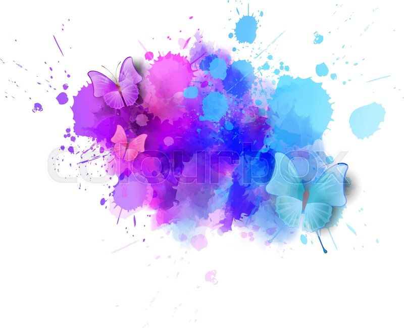 Watercolor Imitation Color Splash With Butterflies Design