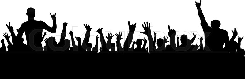 rock concert silhouette a crowd of people at a party cheerful rh colourbox com crowd vector ai crowd vector silhouette