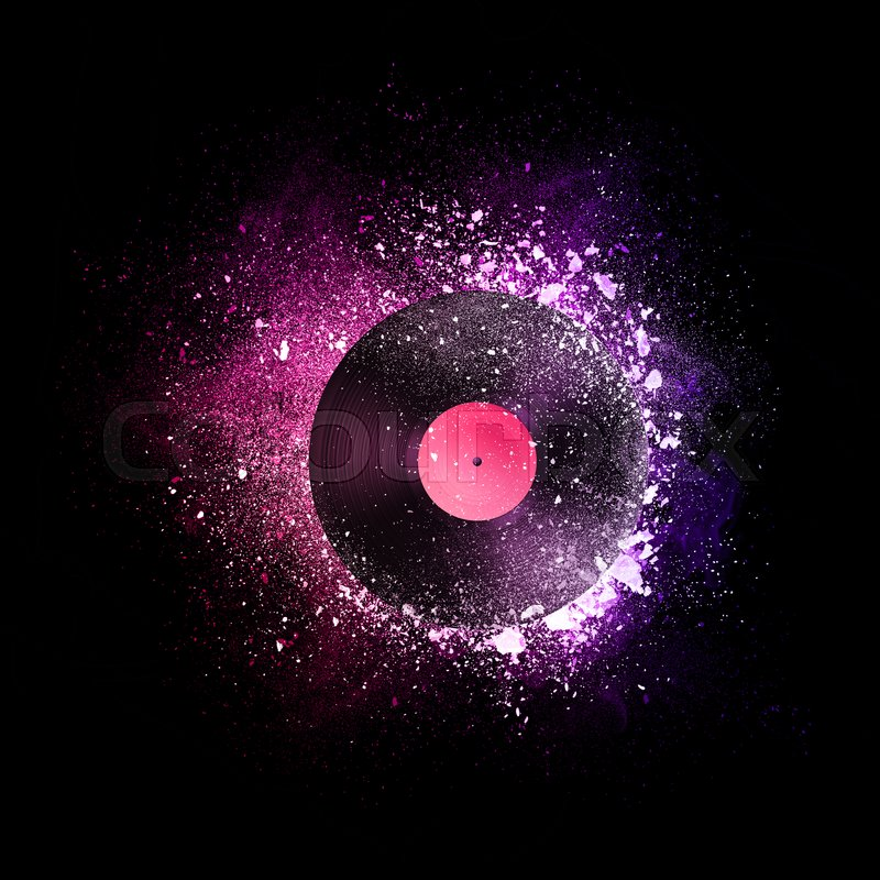 Vinyl Record Flying In Violet Particles Stock Photo