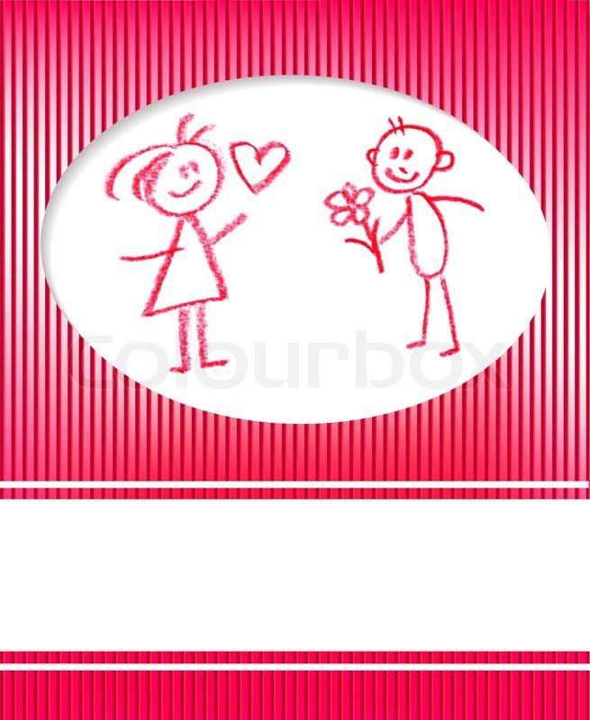Mann Und Frau Gratuliert , Liebe Valentinskarte | Vektorgrafik | Colourbox