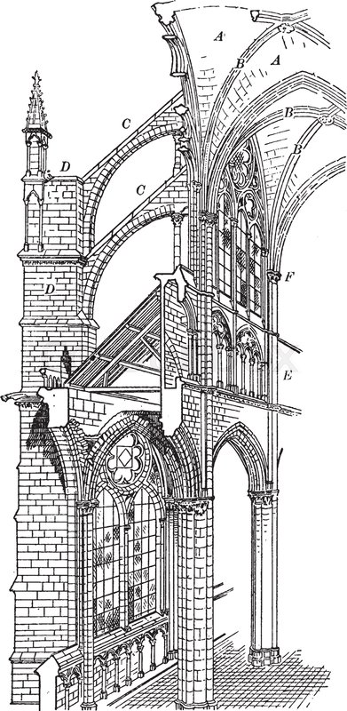 Amiens Cathedral Cross Section Of Gothic Architecture Vintage Line Drawing Or Engraving Illustration
