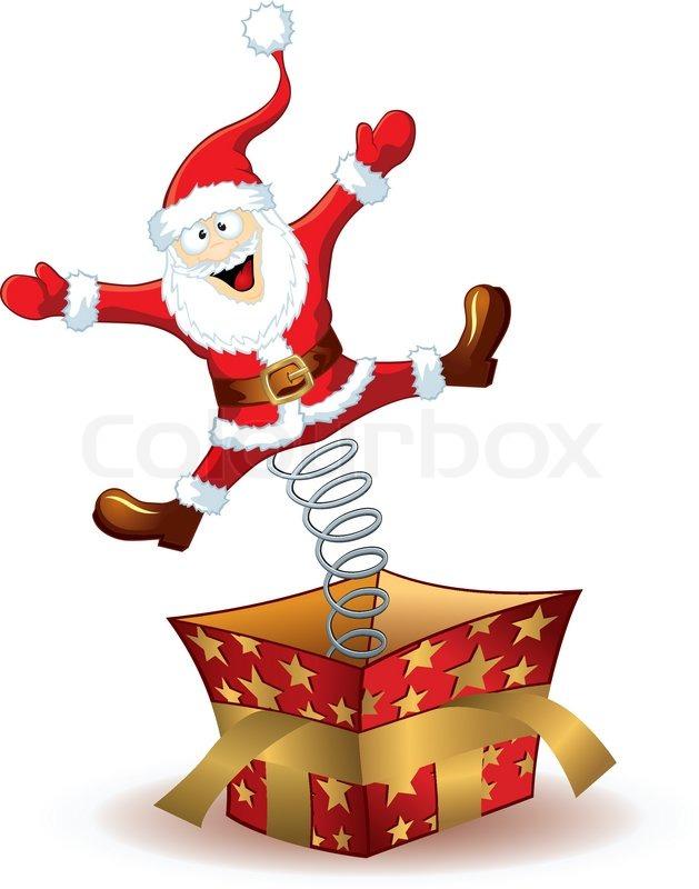 Christmas Santa Claus Jumping Out Of The Box