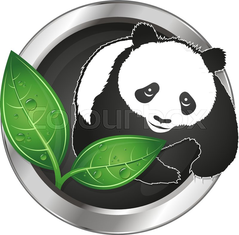 Panda And Green Leaves Symbol Of Ecology Stock Vector Colourbox