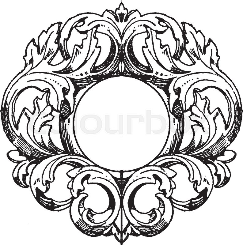 mirror frame drawing. Perfect Drawing German MirrorFrame Was Made In The 18th Century Vintage Line Drawing Or  Engraving Illustration  Stock Vector Colourbox Inside Mirror Frame Drawing M
