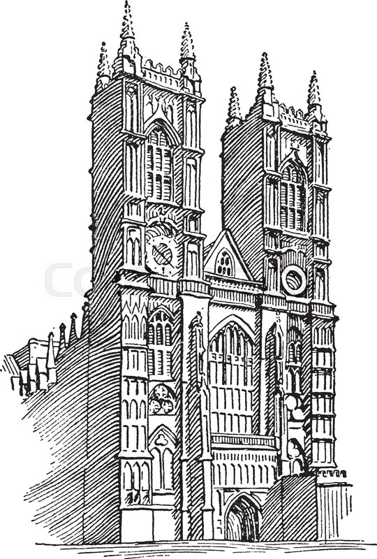 Westminster Abbey Or Gothic Architecture Great Church In England Vintage Line Drawing Engraving Illustration