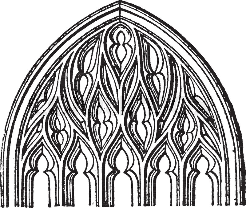 Flamboyant Tracery Gothic Architecture Popular In France The Fourteenth To Sixteenth Centuries Vintage Line Drawing Or Engraving Illustration