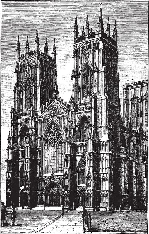West Front Of York Minster Or Gothic Cathedral Second Largest Vintage Line Drawing Engraving Illustration