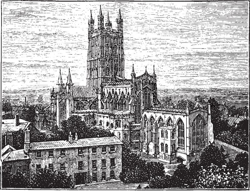 Gloucester Cathedral Abbey Church Style Of Gothic Architecture Four Graceful Pinnacles A Famous Landmark Temple Worship Vintage Line Drawing Or