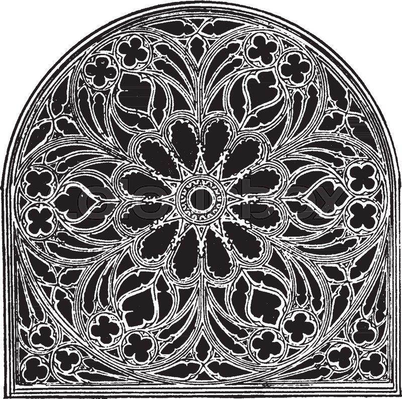 Rose Window Church Of St Ouen Rouen Applied To A Circular Features Two Magnificent Exterior The Cathedral Vintage Line Drawing Or Engraving