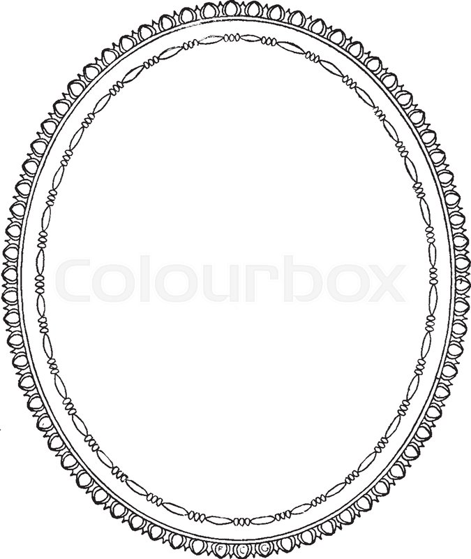 Oval Frame Is A Simple Design It Empty In Center Vintage Line Drawing Or Engraving Illustration