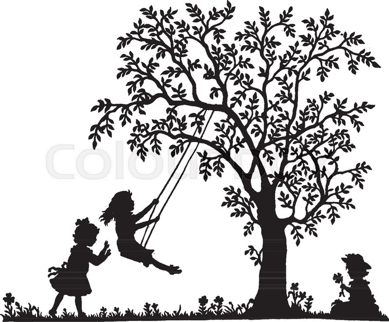 Girl On Tree Swing