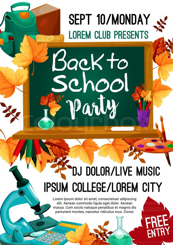back to school college party invitation poster for september autumn