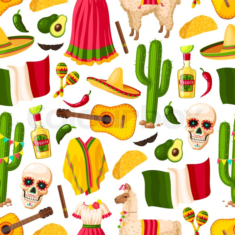 Cinco De Mayo Background With Mexican Holiday Symbols Seamless Pattern Fiesta Party Sombrero Pepper And Maracas Cactus Tequila Lime Mexico Flag