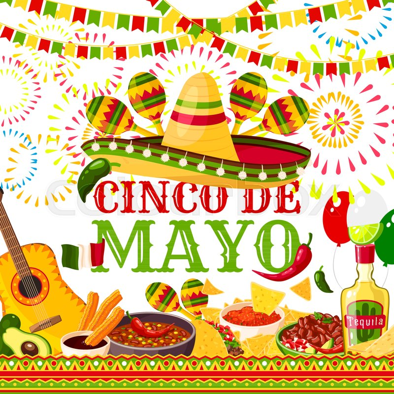 Cinco de mayo greeting card for mexican holiday or fiesta party cinco de mayo greeting card for mexican holiday or fiesta party celebration of jalapeno pepper sombrero and tequila or maracas vector traditional cinco de m4hsunfo