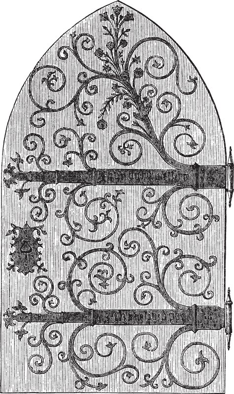 Church Door Designed Wrought Iron Work Vintage Line Drawing Or Engraving Illustration Vector
