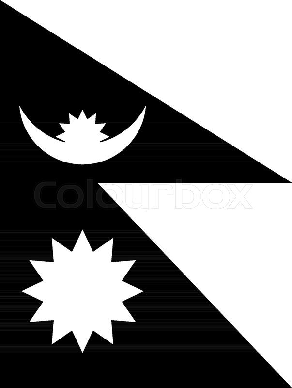 Flag Of Nepal 2009 This Red Color With Blue Border Flag Has Two