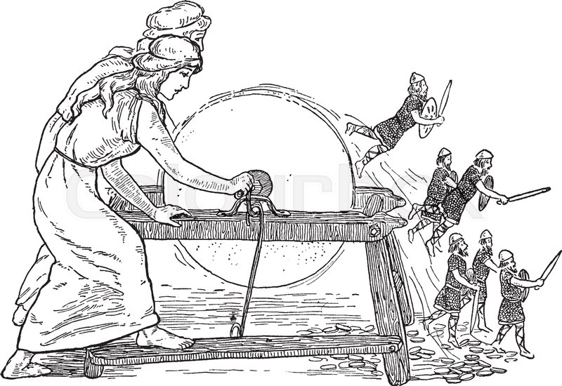A Magical Grindstone From The Fairies And Elves One Who Grinds Stone Sings Would May Get Whatever They Wish Vintage Line Drawing Or Engraving