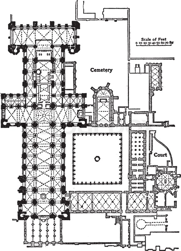 Plan Of Durham Cathedral 10931133 English Gothic Architecture Eastern Termination Simple Buttresssystem Vintage Line Drawing Or Engraving Illustration
