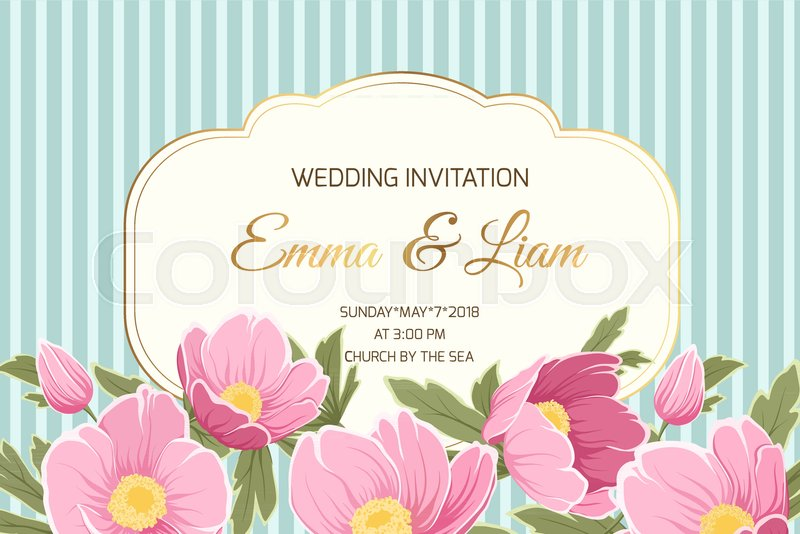 Wedding marriage event invitation card template anemone hellebore wedding marriage event invitation card template anemone hellebore blooming pink yellow green spring flowers shiny gold text placeholder stopboris Image collections