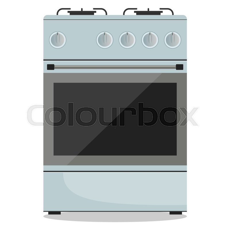 modern gas stoves. Modern Gas Stove, Front View. Vector Illustration In Flat Style, Vector Modern Stoves