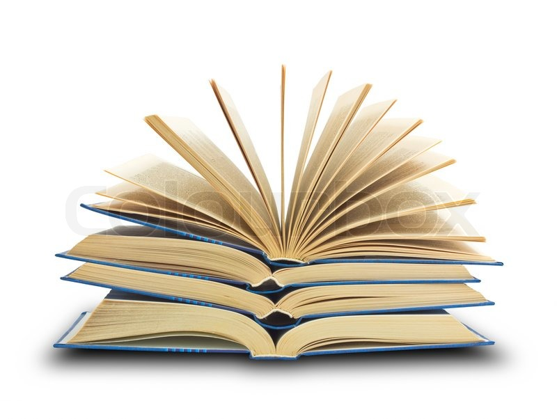 Pile of books with one book open on white background ...