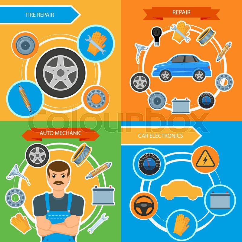 Car Repair And Maintenance >> Vector Flat Car Repair Maintenance Stock Vector Colourbox