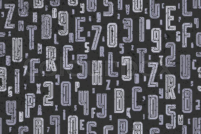 Abstract Seamless Pattern With Alphabet Letters Ornament On Black Vector Lettering Style Background Fashion Textile Print Font Type Design