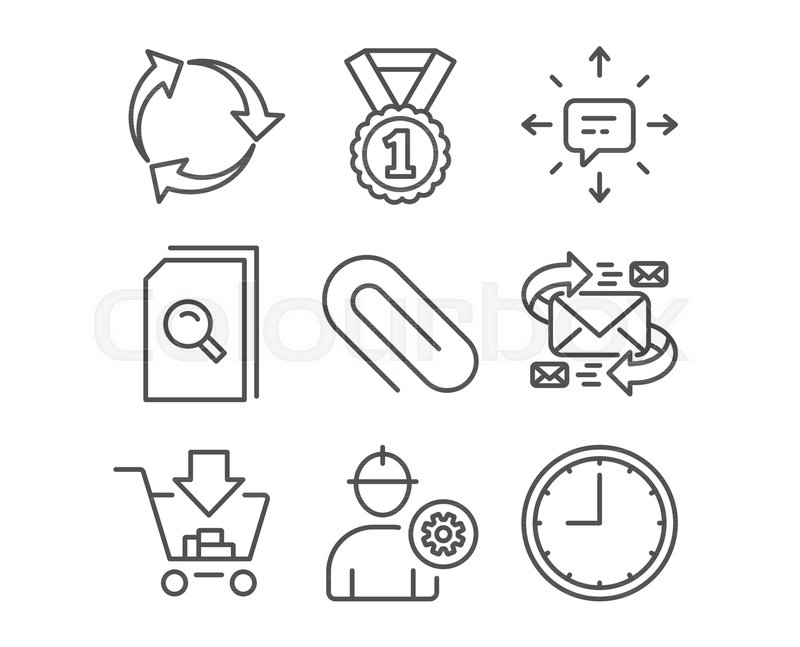 Set Of Sms Recycle And Shopping Icons Engineer Paper Clip And
