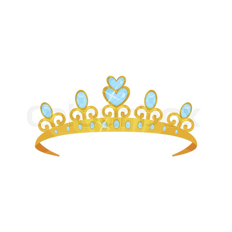 Shiny Princess Tiara Decorated With Blue Gems Golden Queen Crown