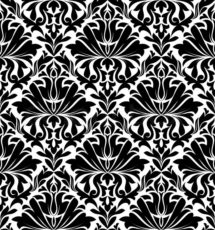 vintage damask seamless pattern for background design in white and