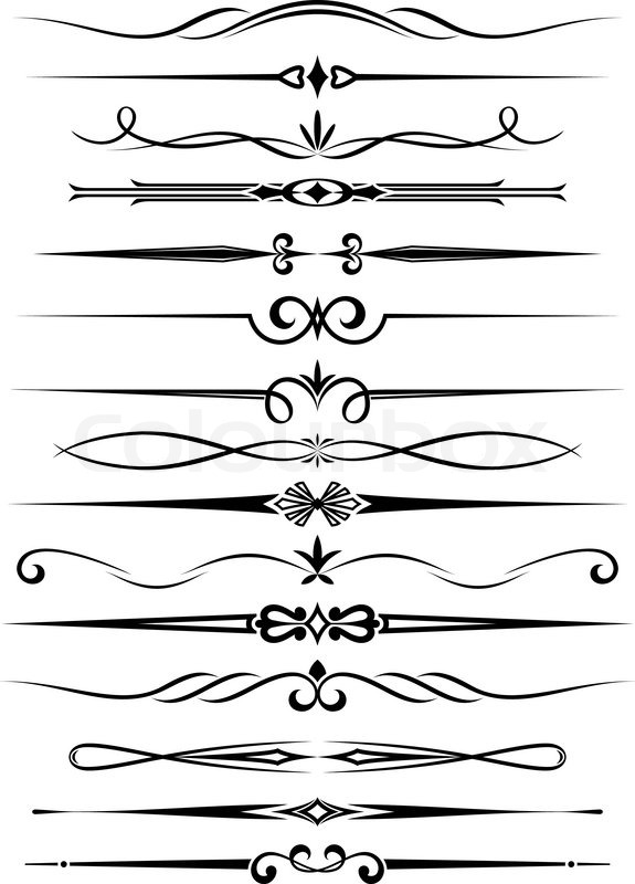 Line Art Designs For Borders : Vintage dividers and borders set for stock vector