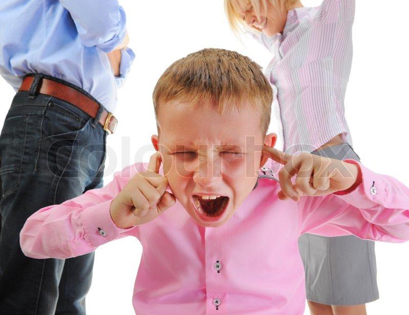 Skandal in der Familie Eltern Aktie Kind  | Stock Bild