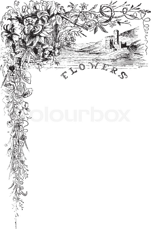 Flower Border Have Flowers In The Upper Right Corner Vintage Line Drawing Or Engraving Illustration