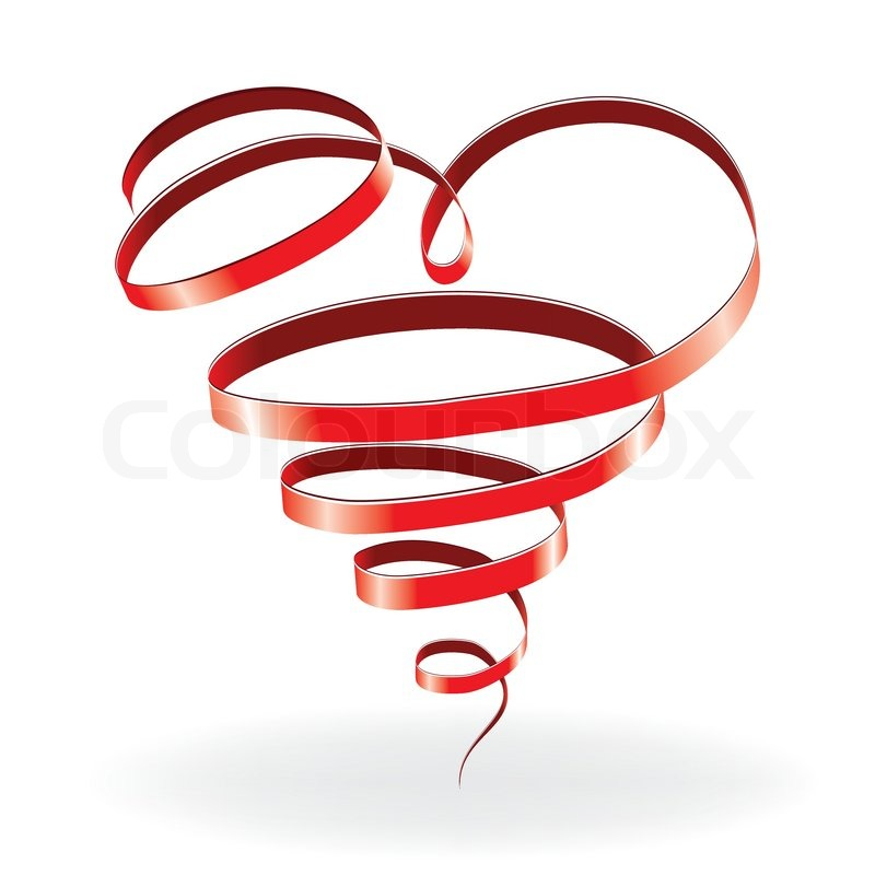 heart love card valentine day background with ribbon vector illustration