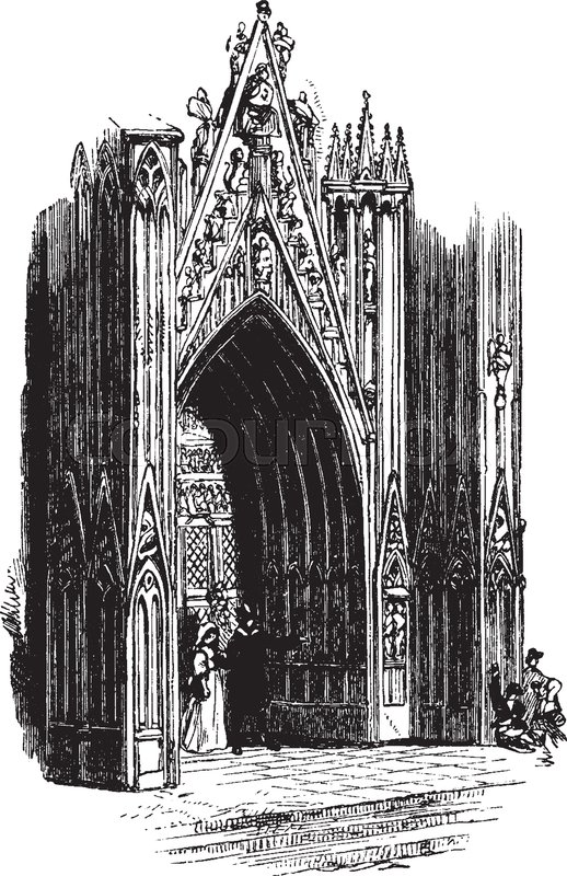 Ornate Gothic Door Style Church Brass Glass Perfect Decorative Knob Vintage Line Drawing Or Engraving Illustration