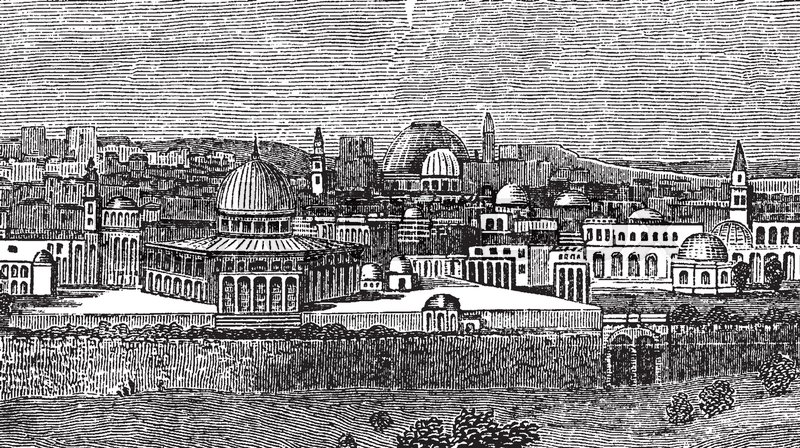 Line Drawing Jerusalem : A view of the city jerusalem vintage line drawing or engraving
