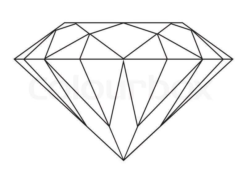 Line Art Diamond : Simple black and white diamond outline icon or symbol