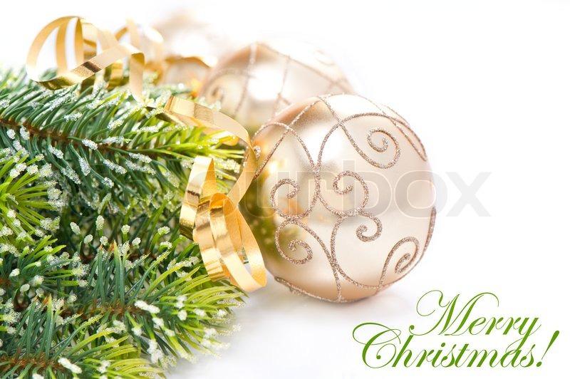 goldene weihnachtskugel mit weihnachtsbaum zweig stockfoto colourbox. Black Bedroom Furniture Sets. Home Design Ideas