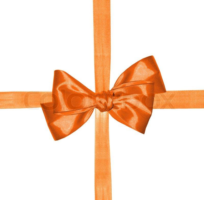 Orange Ribbon And Bow Isolated On White Background Stock
