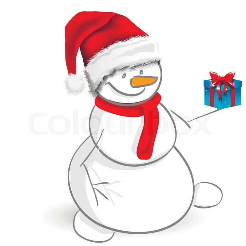 Illustration, ein Weihnachten Schneemann auf einem weißen ...