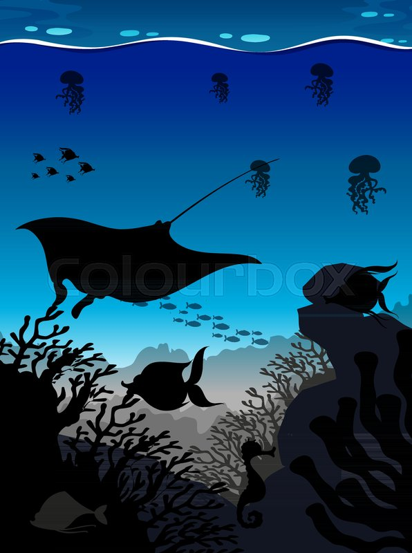 silhouette scene with stingray and fish underwater illustration