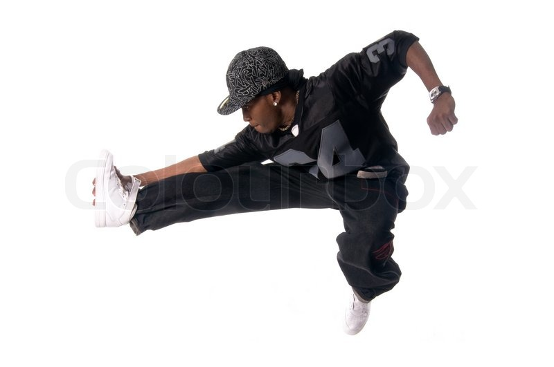 Cool young hip-hop dancer making a move | Stock Photo ...