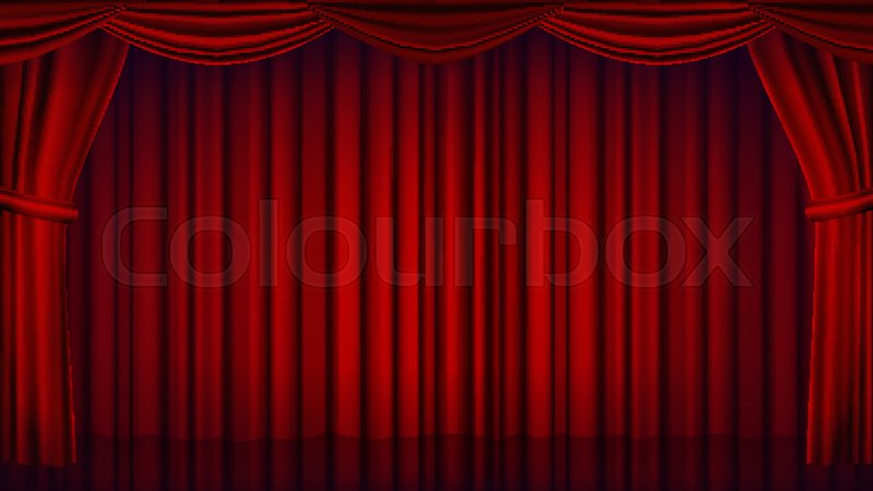 Red Theater Curtain Vector Opera Or Cinema Empty Silk Stage Scene Realistic Illustration