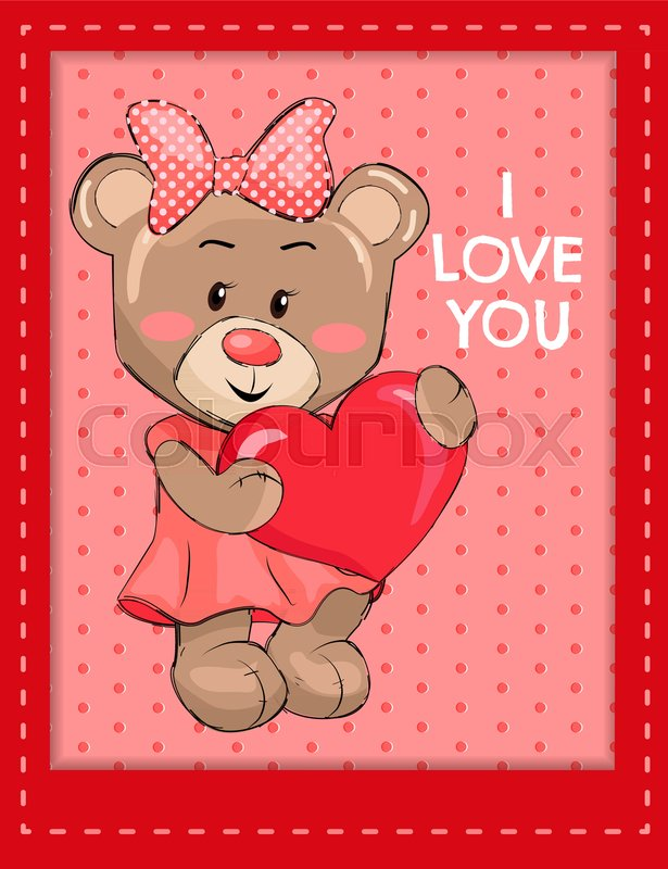 I love you poster with bear female holding red heart wearing pink i love you poster with bear female holding red heart wearing pink dress head decorated by dotted bow fluffy stuff teddy bear on pink circles in frame altavistaventures Images
