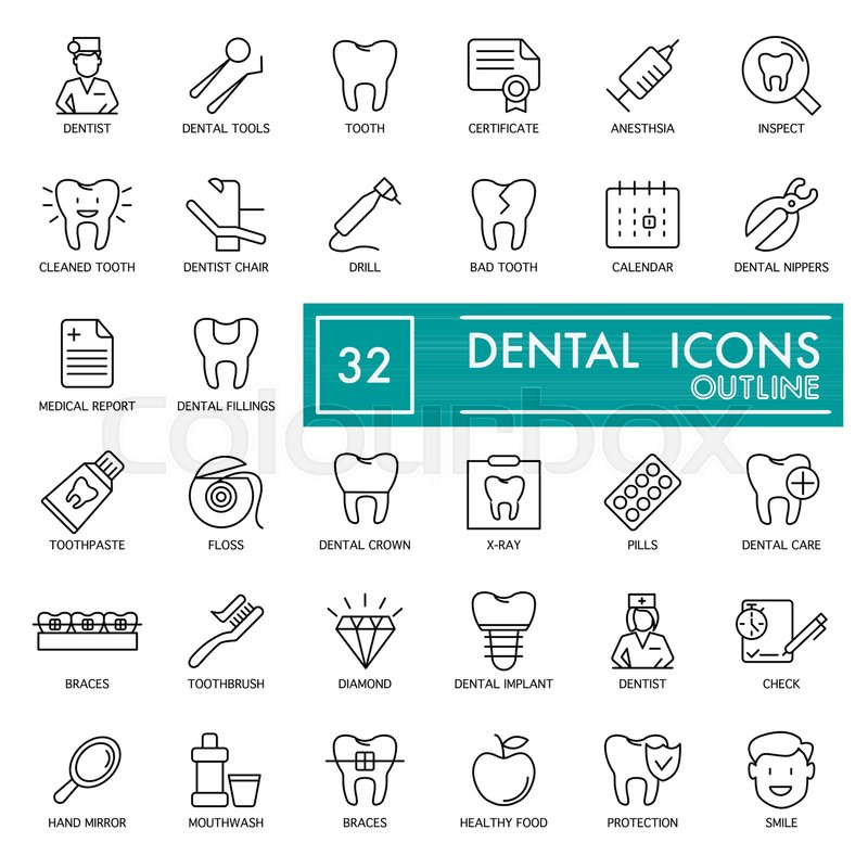 Dental vector thin line Icons Set  For       Stock vector